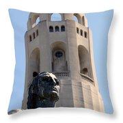 Coit Tower Statue Columbus Throw Pillow