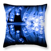 Cold Blue Led Lights Closeup Throw Pillow