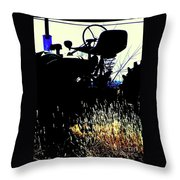 Cold Morning Tractor  Throw Pillow