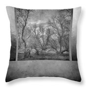 Collage Misty Trees Throw Pillow