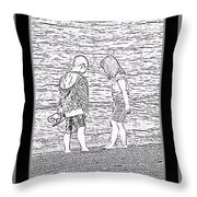 Collecting Seashells By The Seashore Throw Pillow