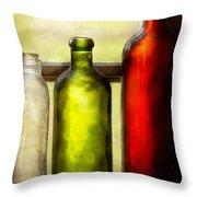 Collector - Bottles - Still Life Of Three Bottles  Throw Pillow