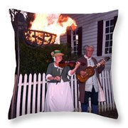 Colonial Musicians By Firelight Throw Pillow