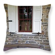 Colonial Shutters Window Frame Stone Wall Wood Box Throw Pillow