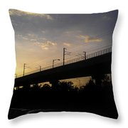Color Of Sunset Over Metro Pillar In Delhi Throw Pillow