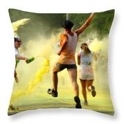 Color Run Happy Throw Pillow