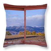 Colorado Country Red Rustic Picture Window Frame Photo Art Throw Pillow