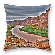 Colorado River Flows Through A Stormy Moab Portal Throw Pillow