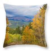 Colorado Rocky Mountain Autumn Scenic Drive Throw Pillow