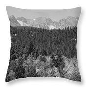 Colorado Rocky Mountain Continental Divide View Bw Throw Pillow