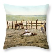 Colorado: Roping A Steer Throw Pillow