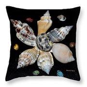 Colored Seashells Throw Pillow