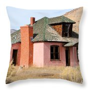 Colorful Abandoned Home In Dying Farm Town Throw Pillow
