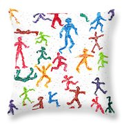 Colorful Acrylic Stickmen Characters Throw Pillow