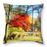 Colorful Autumn Street Throw Pillow