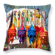 Colorful Banners At Surajkund Mela Throw Pillow