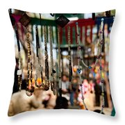 Colorful Beads At The Surajkund Mela Throw Pillow