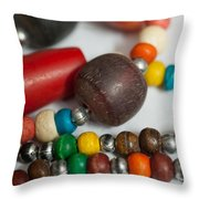 Colorful Beads In Chains Throw Pillow