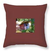Colorful Birdie House Throw Pillow