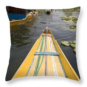 Colorful Boats On Dal Lake Dal Lake Throw Pillow