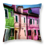 Colorful Burano Italy Throw Pillow