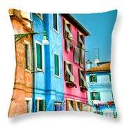Colorful Burano Throw Pillow