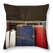 Colorful But Worn Luggage Awaits Throw Pillow