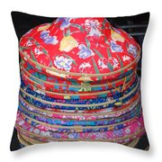 Colorful Chinese Farmer Hats Throw Pillow