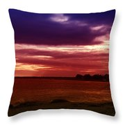Colorful Clouds Over Ocean At Sunset Throw Pillow