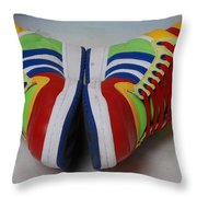Colorful Clown Shoes Throw Pillow