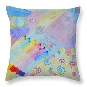 Colorful Doodling Original Art Throw Pillow