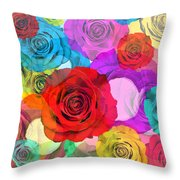 Colorful Floral Design  Throw Pillow