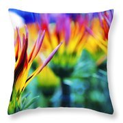 Colorful Flowers Together Throw Pillow