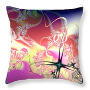 Colorful Frost Fractal 126 Throw Pillow