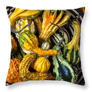 Colorful Gourds In Basket Throw Pillow