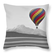 Colorful Hot Air Balloon And Longs Peak Throw Pillow