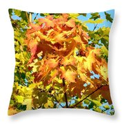 Colorful Leaf Cluster Throw Pillow