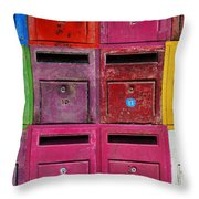 Colorful Mailboxes Throw Pillow