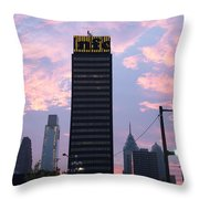 Colorful Morning Sky In Philly Throw Pillow