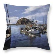 Colorful Morro Harbor Throw Pillow