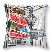 Colorful Neon Sign On Bourbon Street Corner French Quarter New Orleans Colored Pencil Digital Art Throw Pillow
