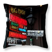 Colorful Neon Sign On Bourbon Street Corner French Quarter New Orleans Watercolor Digital Art Throw Pillow