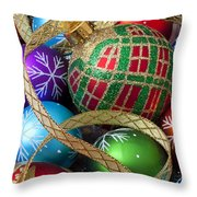 Colorful Ornaments With Ribbon Throw Pillow