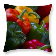 Colorful Peppers Throw Pillow