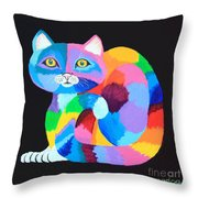 Colorful Rainbow Cat Throw Pillow