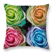 Colorful Rose Spirals Throw Pillow