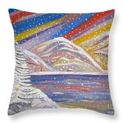Colorful Snow Throw Pillow