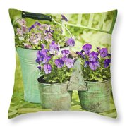 Colorful Spring Flowers On Garden Chair Throw Pillow