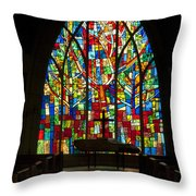 Colorful Stained Glass Chapel Window Throw Pillow