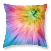 Colorful Starburst Tie Dye  Throw Pillow